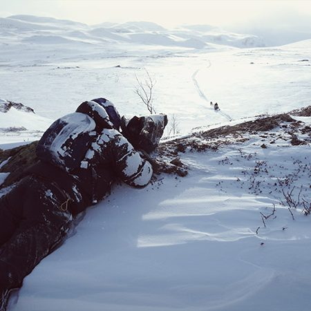 Esben Hardt filming sami reindeer herders in the North of Sweden.